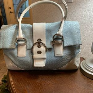 Coach Light Blue and White Satchel